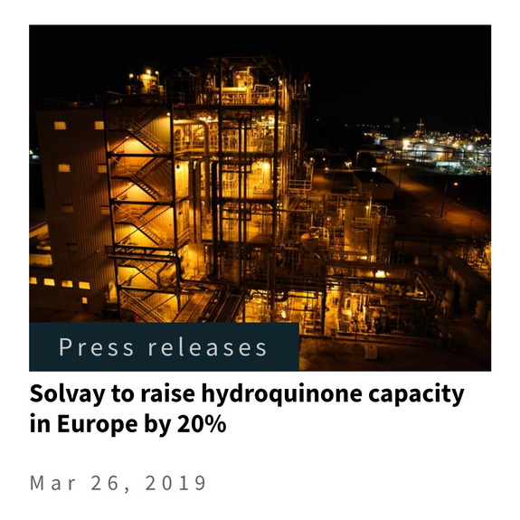 Solvay to raise hydroquinone capacity in Europe by 20%, by chemwinfo