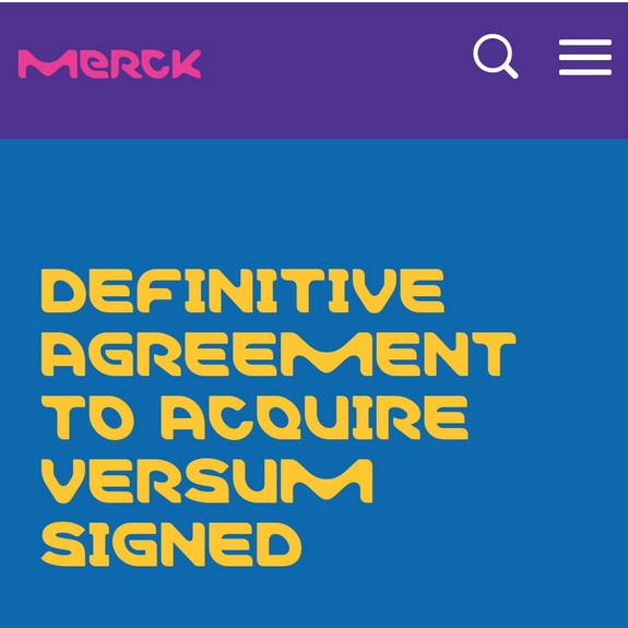 Merck signs Definitive Agreement to acquire Versum Materials for $53 per share, Reflecting  an enterprise value (EV)  for Versum of approximately �5.8 billion,by chemwinfo